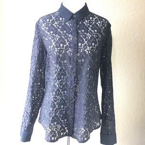 Banana Republic black lace button down top size 12